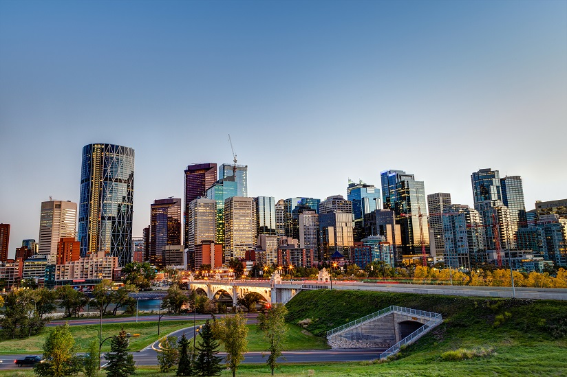 Sunset Over Calgary Downtown Skyline in HDR