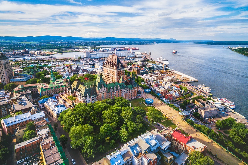 Working holiday Canada. Quebec City and Old Port aerial view, Quebec, Canada.