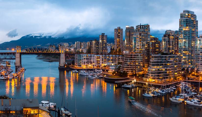 Aerial view of Downtown Vancouver, British Columbia, Canada