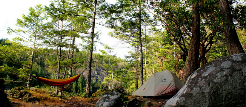 camp by lake