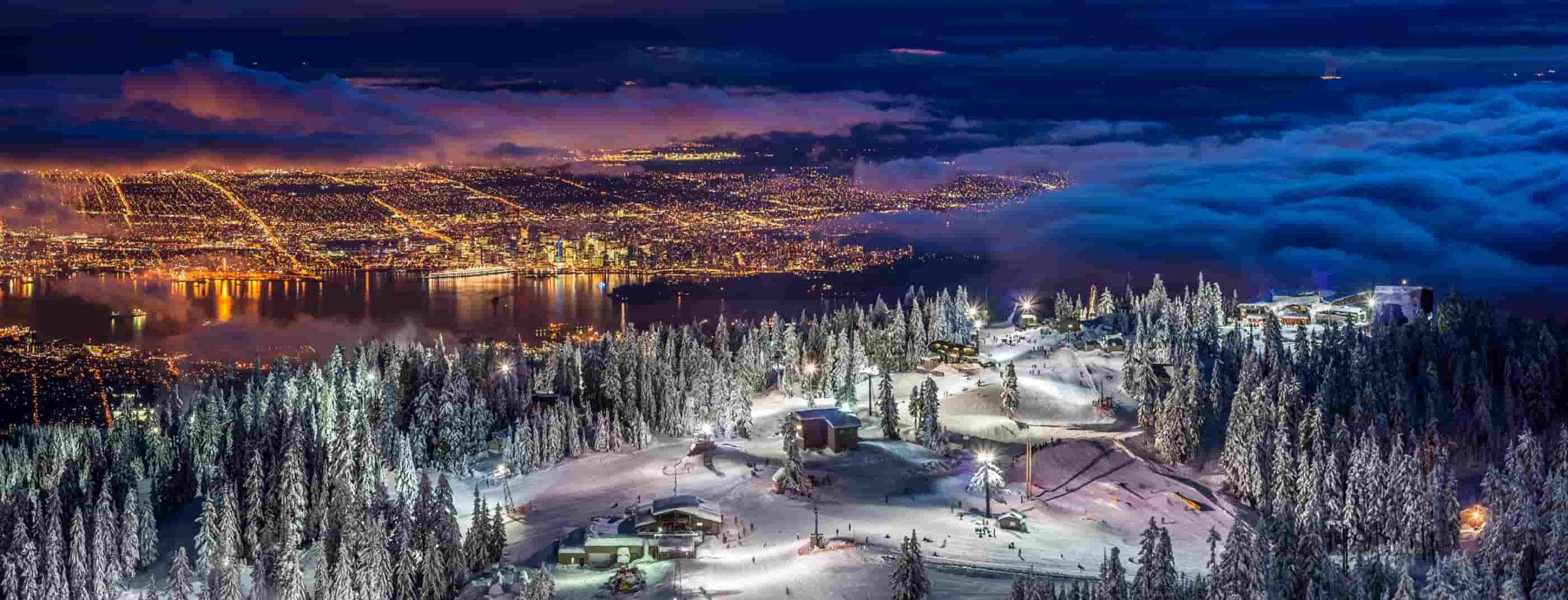 Snowy night in Vancouver