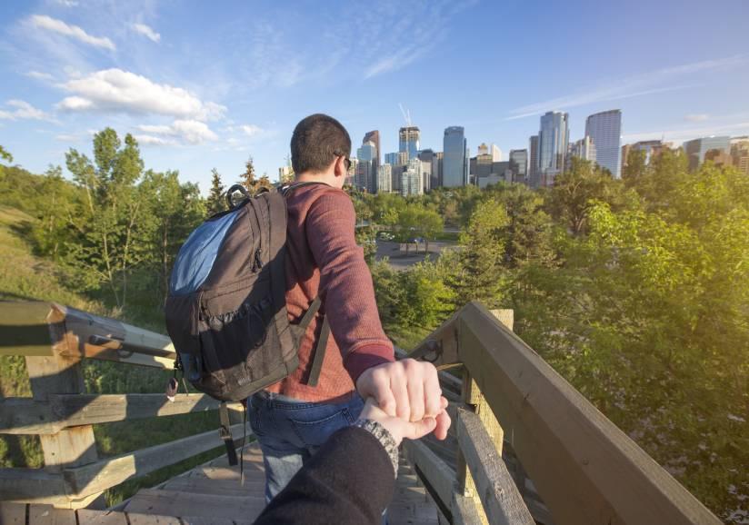 Couple exploring Calgary