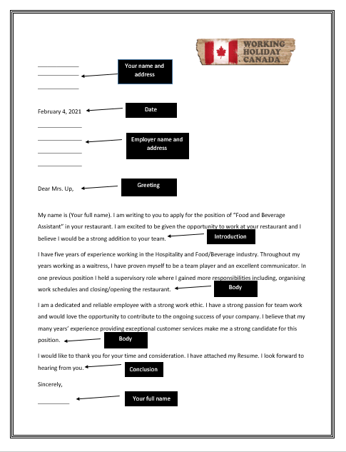 cover letter Canada sample by workingholidayincanada.com