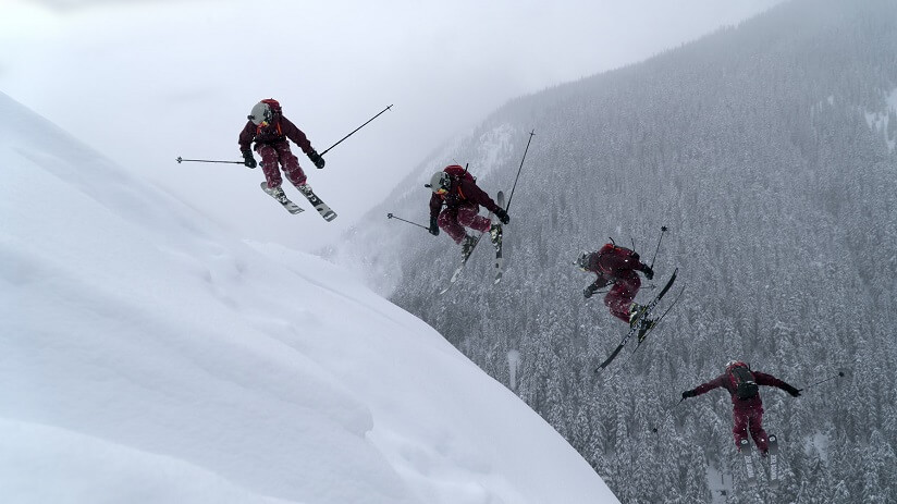 a group of people skiing in Canada
