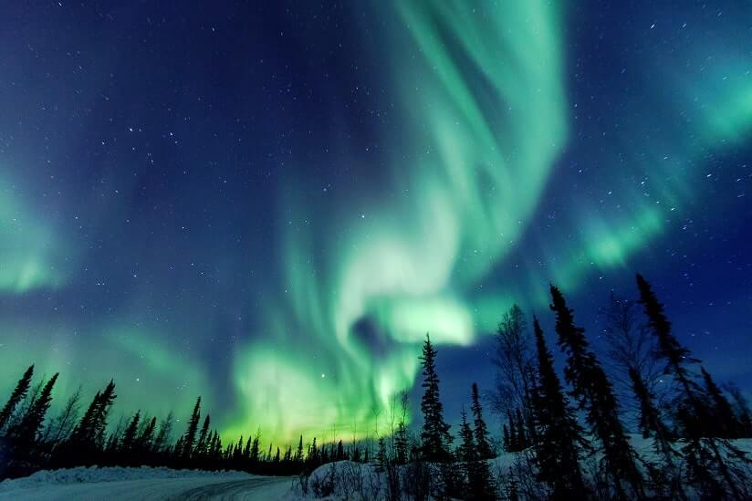 view of the Northern Lights in Canada