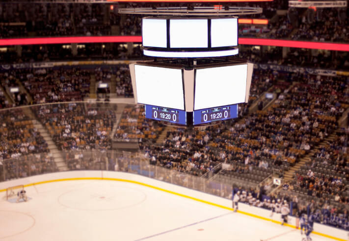 blank scoreboard at an ice hockey game in Canada